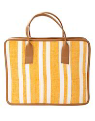 Yellow Hand Printed Striped Cotton And Leather Laptop Bag