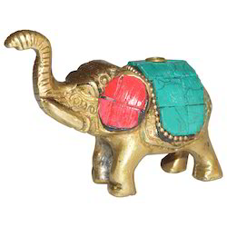 Brass Elephant With Stone Work