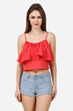 Designer Orange Ruffle Crop Top