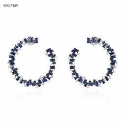 Full Cut Diamond Hoop Stud Earrings