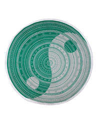 Green Round Lace Work Yin Yang Printed Cotton Beach Towel