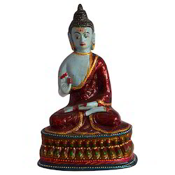 Metal Buddha Statue With Meena Work