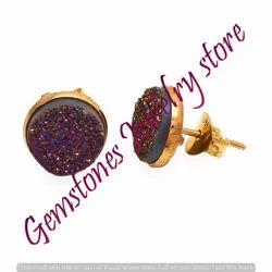Purple Druzy Gemstone Ear Stud