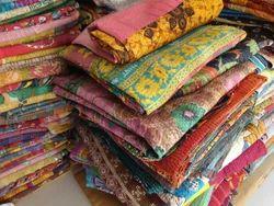 Vintage Cotton Sari Patchwork Handmade Reversible Kantha Throw Bed Sheet