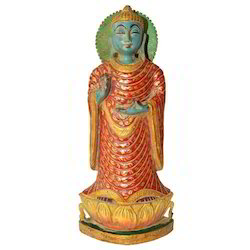 Hand Made Wooden Antique Buddha Statue