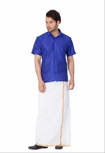 334ab2b581f04d Men Shirt Half Sleeves - Vastramay Men Blue Cotton Silk Ethnic Shirt ...