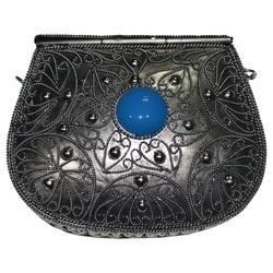 White Metal Purse With Stone Work