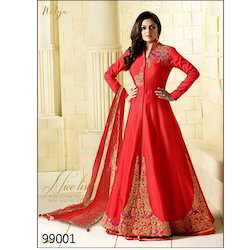Semi Stitched Long Anarkali Suits