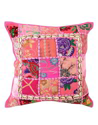 Cotton Embroidered Pink Patchwork Cushion Cover
