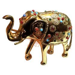 Brass Stone Work Elephant Sculpture
