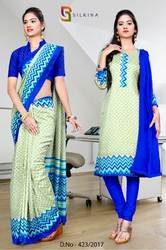Blue and Green Italian Crepe Uniform Saree Kurti Combo