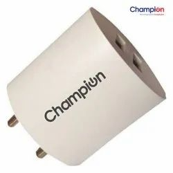 Champion Power Wall Adapter with Dual USB Port, Fast Charger Champ 2213  1150 mah Small White