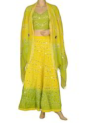 Yellow Ethnic Mirror Cotton Tie Dye Designer Lehenga Choli