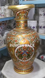 Antique Marble Gold Painted Flower Vase