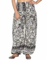 Art Silk Printed Black Harem Regular Casual Girls Trouser