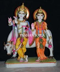 Beautiful Marble Radha Krishna Statue with Cow
