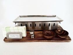 Rectangular Snacks Warmer Wooden Snack Service Set