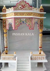 Decorative Indian White Marble Temple
