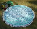 Blue Floral Ombre Mandala Hippie Cotton Beach Towel