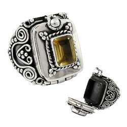 Big Amazing 925 Sterling Silver Citrine Gemstone Poison Ring