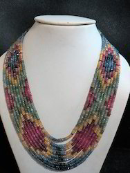 9-strand Sapphire, Ruby, Emerald Multi Color Gemstone Necklace