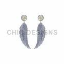 Diamond Pave Silver Wings Earrings