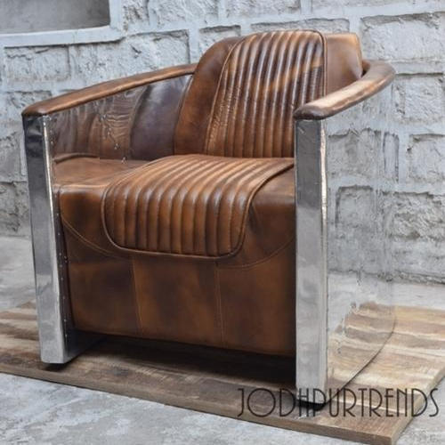 VINTAGE LEATHER SOFA U0026 PUFF FURNITURE   Chesterfield Sofa Single Seater  Wholesale Supplier From Jodhpur