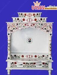 White Marble Inlay Work Mandir