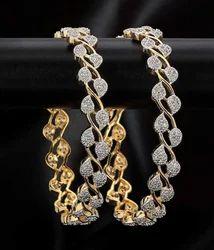 Diamond Studded Gold Bangle