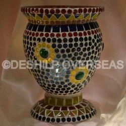 Mosaic Glass Hurricane Lamps
