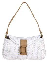 Cotton With Leather Kantha Work Floral Shoulder Women Bag