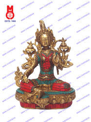 Green Tara Sitting W/Stone Work Statue