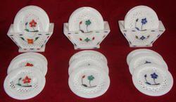 Beautiful Marble Inlay Jaali Tea Coasters