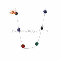 925 Fine Silver Multi Color Gemstone Chain Necklace