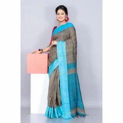 Handloom Ghicha Blue Saree