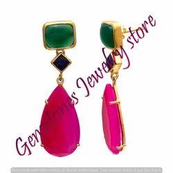 925 Sterling Silver Fuchsia Chalcedony Earrings