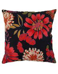 Cotton Multicolor Hand Printed Floral Designer Cushion Cover