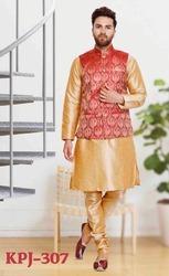 Designer Kurta Pyjamas For Men Mens Brocade Silk Kurta Pajamas
