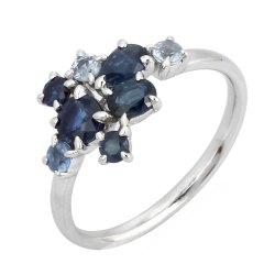 Natural Sapphire Gemstone White Gold Ring
