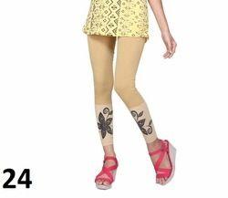 Beige Printed Cotton Lycra Leggings