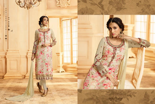 149aa1e564a28 Buy Designer Ladies Suits Online - Beige Brasso & Georgette Salwar Suit  Wholesaler from Mumbai