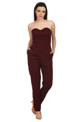 Maroon Off Shoulder Designer Jumpsuit