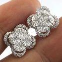 14k White Gold Stud Earrings