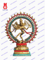 Natraj Double Ring W/Stone Work Statue