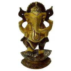 Wooden Standing Black Finishing Ganesha Statue