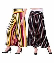 Strip Printed Crepe Short Palazzo Pants For Girls/Woman