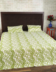 Block Print Parrot Green Fancy Bed Sheets
