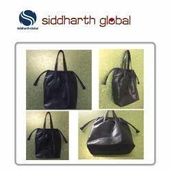 Black Premium Leather Drawstring Tote Bag