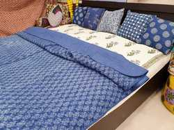Blue and White Handmade Indigo Kantha Quilt