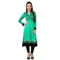 Ira Soleil Green & Black Viscose Knitted Stretchable Long
